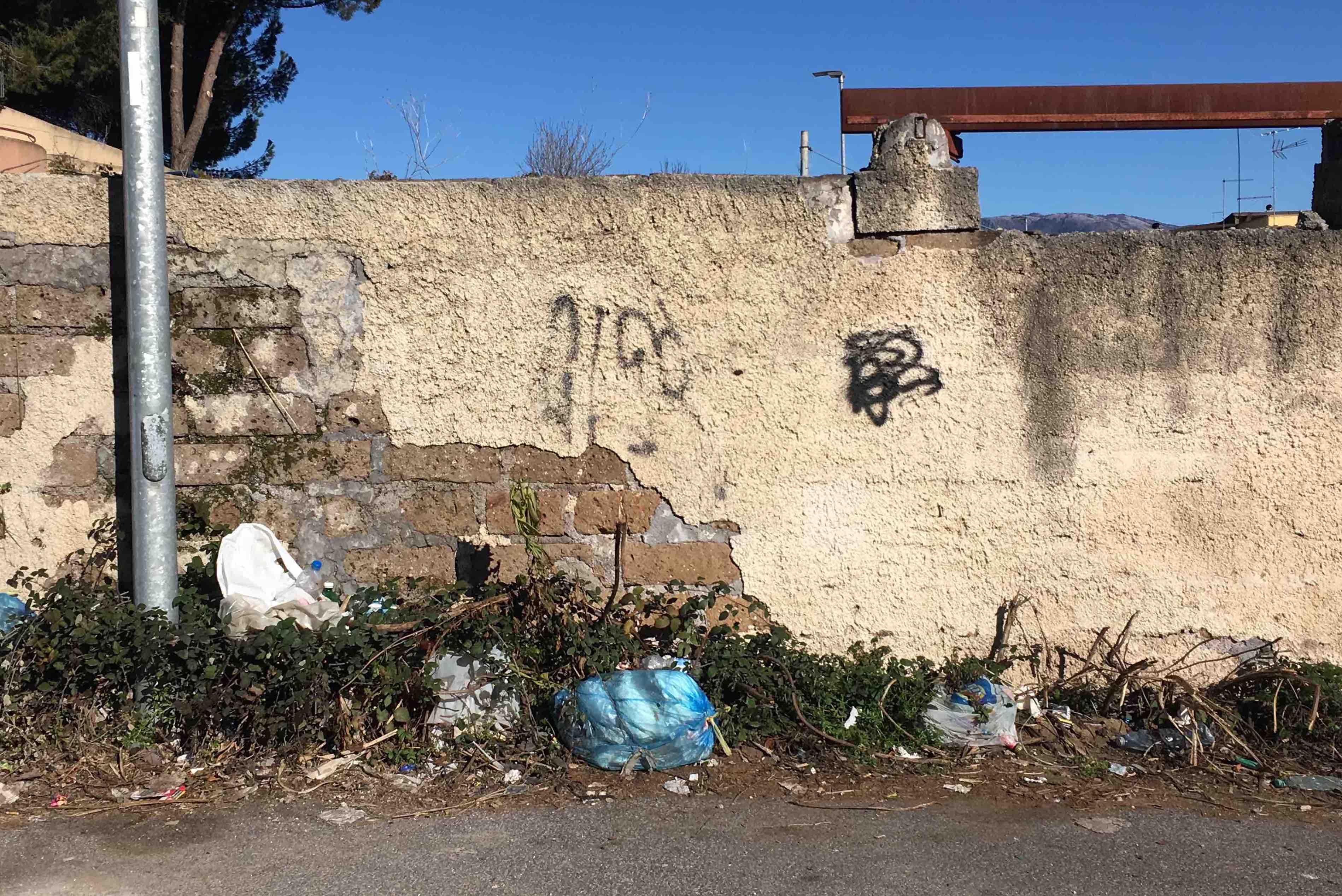 Il muro, l'erba e la spazzatura. Scene di degrado tra Guidonia e Villalba