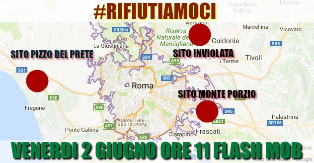 """Guidonia, è flash mob all'Inviolata per dire """"no ai rifiuti di Roma"""": in simultanea a Fiumicino e ai Castelli"""