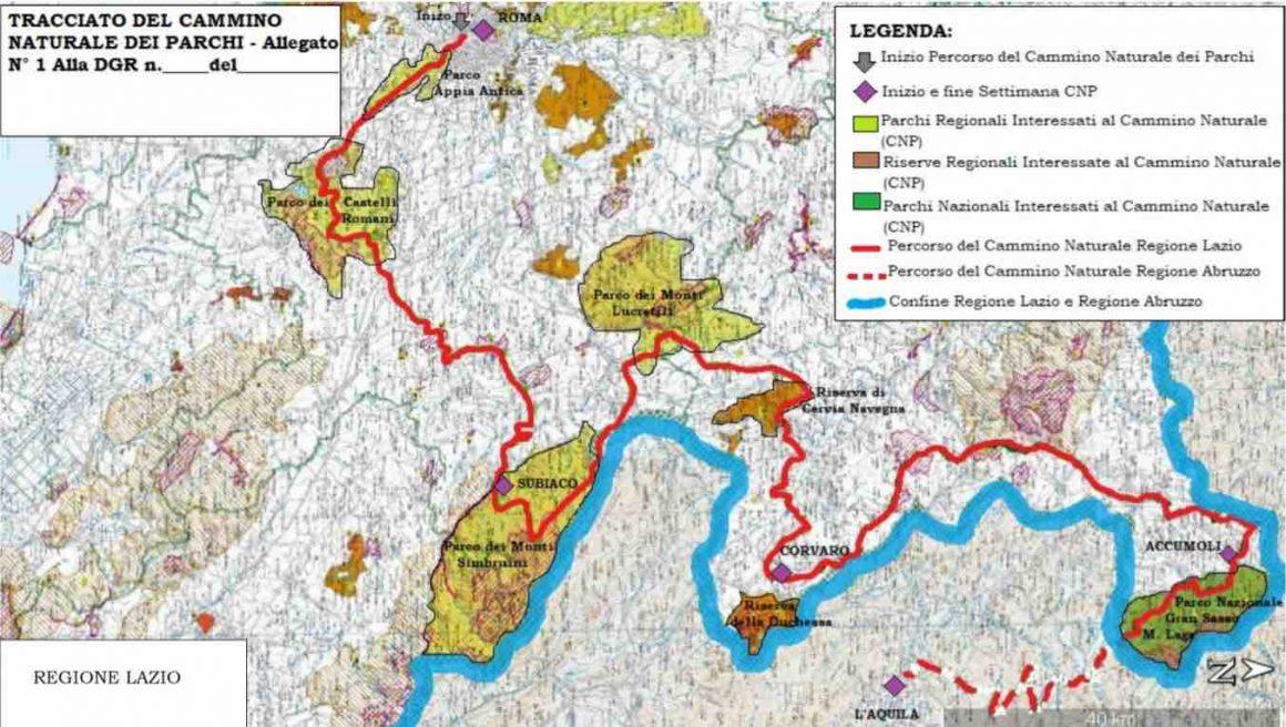 Il tracciato del Cammino naturale dei Parchi nel Lazio